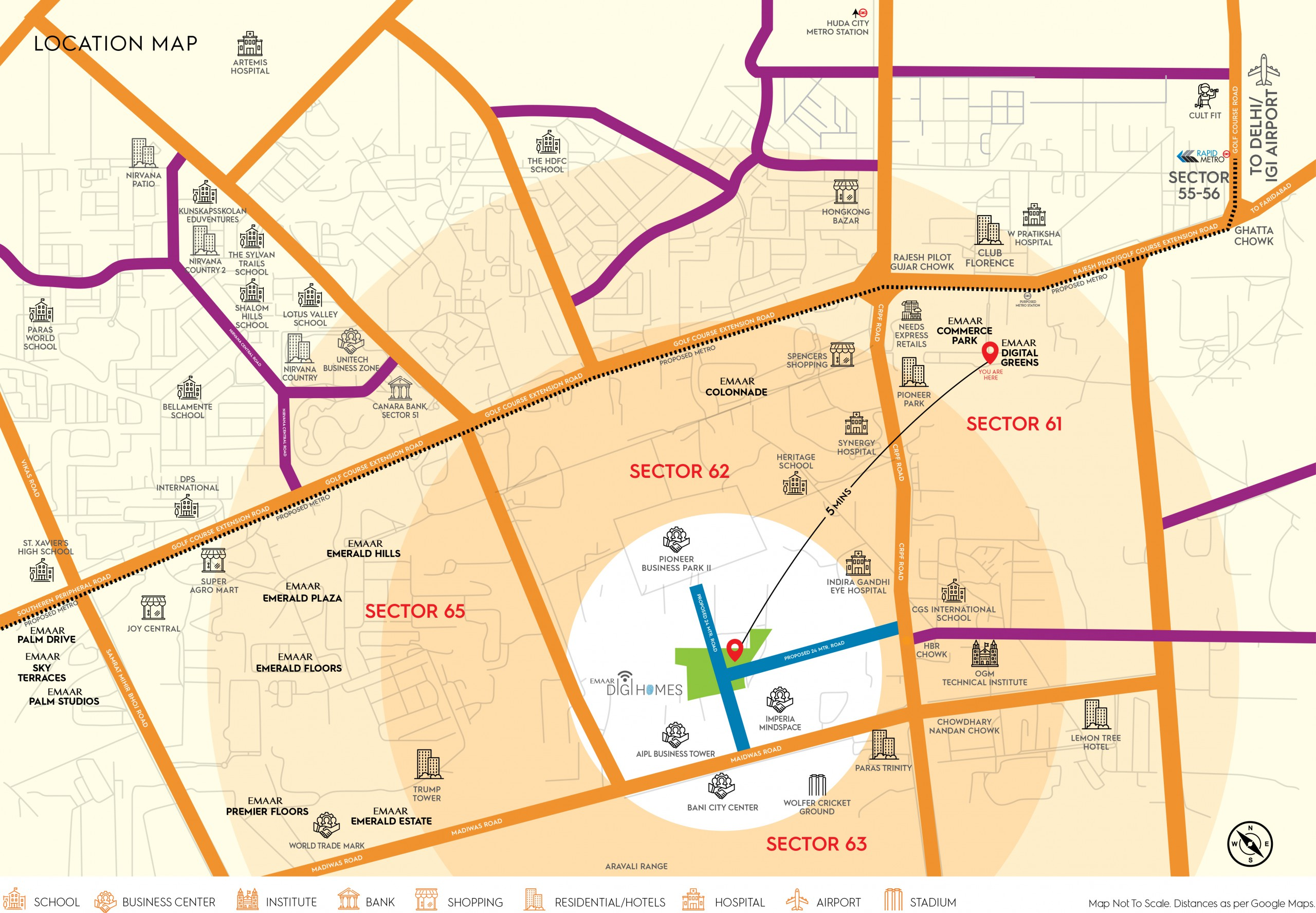 Emaar Digi Homes Location Map